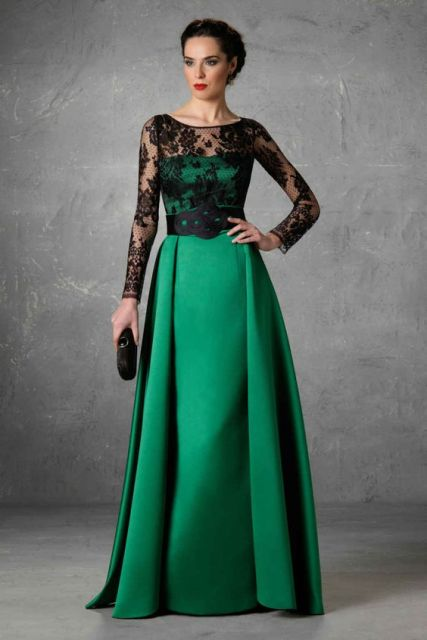 Long Dress Brokat Kombinasi Model Boat Neck 2019
