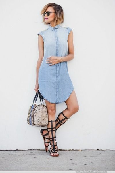 Denim Dress Berkerah Modern 2019