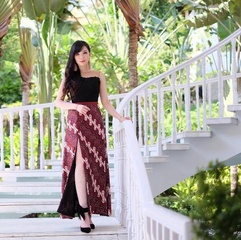 Long Dress Batik Kombinasi Brokat 2019