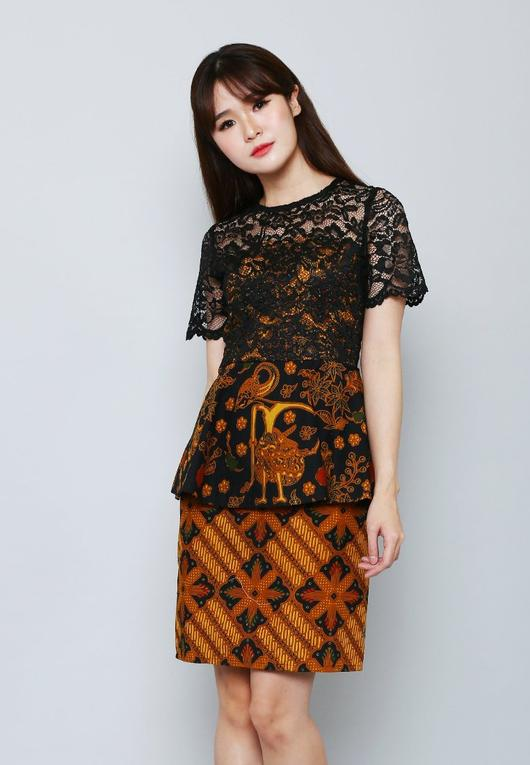 Contoh Dress Brokat Batik